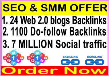 High Indexin SEO Package, 24 We 2.0 blogs-1100 Do Follow Links-Promotion 7 Million