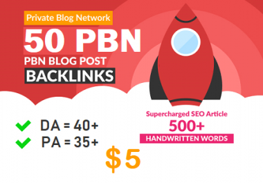 DA $40+ PA 35+ PR 5+ web 2.0 50 PBN in unique 50 site