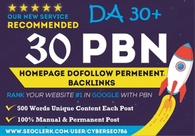 30 PBNs From 30+DA Aged Blog Site Permanent Homepage Post