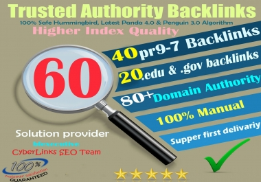 80+DA Links Juicy 60 PR9 Quality SEO Authority Backlinks for Promote Google 1st Ranking