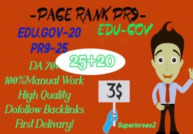 MANUALLY DO 25 PR9 (DA 70-100) + 20 EDU-GOV HQ Authority SEO Backlinks