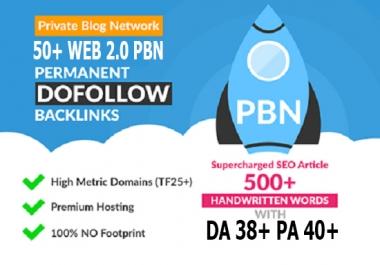 Build 50 Primium Website 2.0 PBN DA Backlinks 38+ PA 40+ SEO in Unique 50 website Links