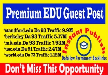 Publish 5 Dofollow Edu Guest Posts on High DA93+ Sites