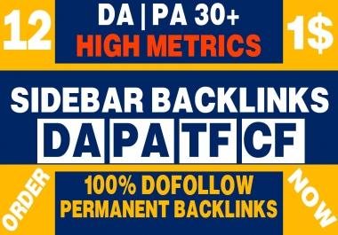 Permanent 12 Sidebar backlink on PBN Home Page High DA PA 30+ (Dofollow)