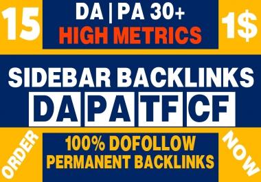 Permanent 15 Sidebar Dofollow Backlink on High DA PA 30+ PBN Home Page