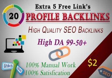 I Will Create 25 Unique Profile Backlinks On Top 25 Domains