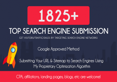 Submit your site to over 1825+ search engines and ping for fast indexing