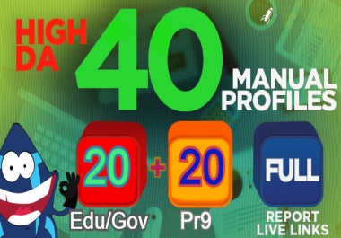 Manually 40 High Domain Authority SEO Profile Backlinks Service