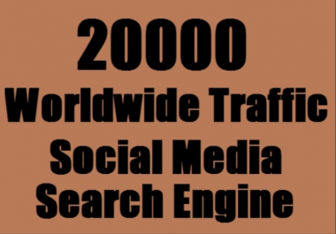 I will send 20,000 web traffic worldwide from search engine and social media