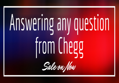 I will answer your questions from chegg for 1 week