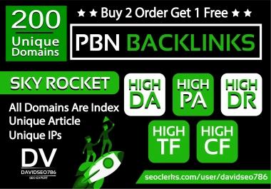 I will provide 200 Unique Domain High Quality PBN Backlinks in High DA PA