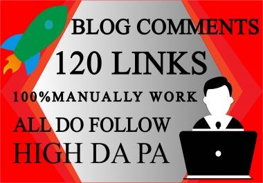 I will do 120 dofollow unique domain blog comment backlinks in DA 25+