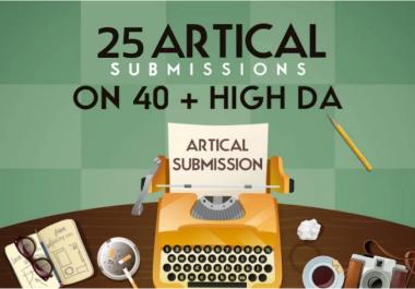 I will do 25 dofollow article submission in DA 40+