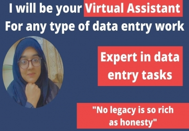This is natasha I will be your virtual assistant for any data entry task