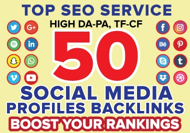 I will create 50 Dofollow social media profile backlinks