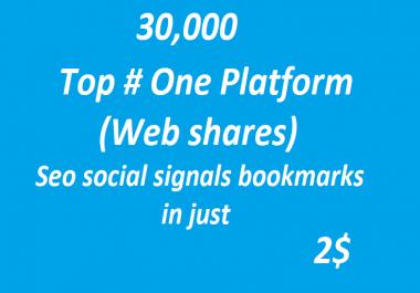 30,000+ Top # One Platform SEO Social Signals Bookmarks High Quality