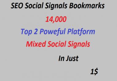 14,000+ Top 2 Powerful Platform Mixed Social Signals 7,000(web shares)and 7,000(Pinterest)