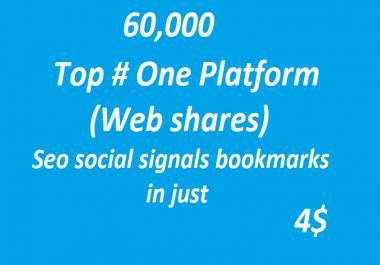 60,000+ Top # One Platform SEO Social Signals Bookmarks High Quality