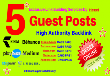 Write & Guest Post On Steemit, Apsense,Elsvier, Minds & Patreon.com DA90+ Sites