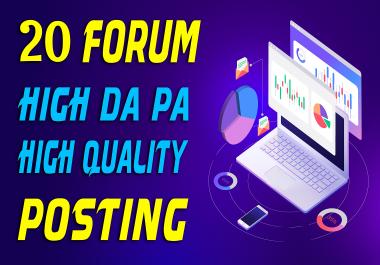 Manually Do 20 High Quality Forum Posting SEO Backlinks
