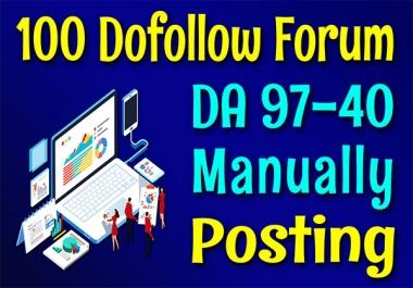 DA 97-40 High Quality 100 Forum Posting SEO Backlinks