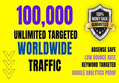 UNLIMITED Website Traffic - 100,000K+ Real HUMAN TRAFFIC For 3 Months
