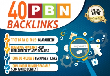 Build 40+ Permanent Backlink with High DA/PA/TF/CF On your homepage with unique website