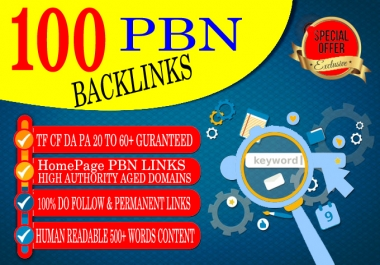 Create 100 HOMEPAGE PBN Backlinks 100% Dofollow & Permanent Links With High DA/PA/CF/TF web2.0