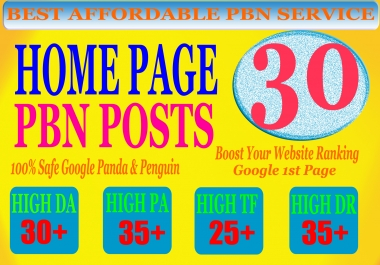 30 Homepage PBN Post with High DA PA CF TF (25+) Moz Authority Expired domain Backlinks