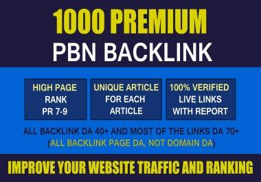 Premium 1000 PBN & WEB 2.0 Backlink with Permanent Dofollow & High DA PA TF CF