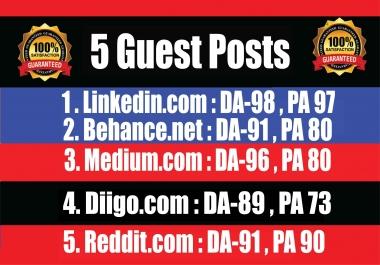 Publish 5 Guest Posts on Linkedin, Behance, Medium, Diigo, Reddit - High DA-90+ PA Blogs