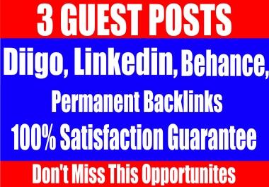 Publish 3 Guest Posts on Diigo, Linkedin,Behance High DA-90+ websites Boost your SEO Ranking