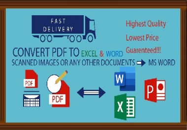 I will convert all your pdf files to word excel power point (50 files)