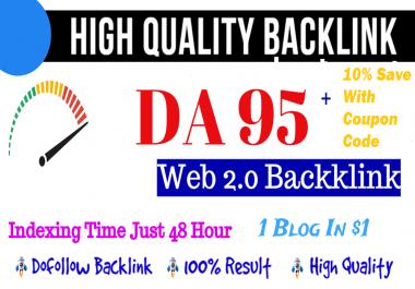 Build Manual High Quality DA 95 Indexed Web 2.0 Dofollow Seo Backlinks