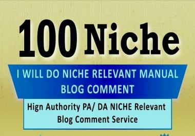 Create 100 Niche Relavent Blog Comments Backlinks on High DA