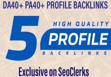 Manually Create 5 High DA PA Social Profile Backlinks For Rank Your Website