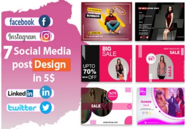 I will design 7 attractive instragram, facebook post social media post