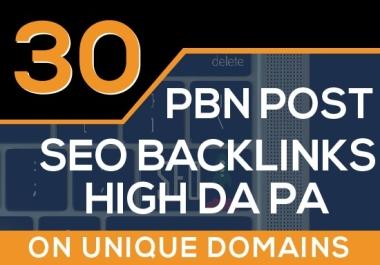 Build 30 PBN Contextual Seo Backlinks High DA PA ON Unique Domains