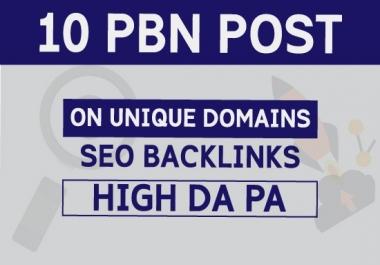 10 PBN Post ON Unique Domains High DA PA Seo Backlinks