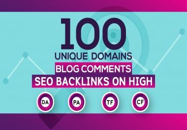 Build 100 Unique Domains Blog Comments Seo Backlinks On High DA PA