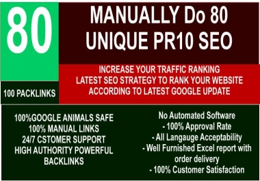 I will manually create 80 unique SEO do follow backlinks on da100 sites
