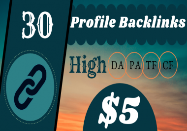 I will Do 30 High Quality Profile Backlinks (DA/PA 50+) and (TF/CF 15+)