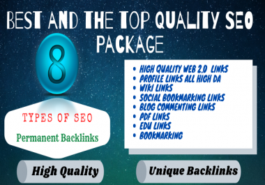 Boost your website Rank with Manually Build 8 Types of SEO Backlinks package