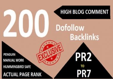 Get 200 High DA PA Dofollow Blog comment Backlinks on high level domain