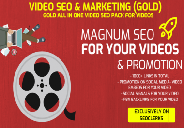 All In One Video SEO Service - 1000+ Links, Promotion on Social Media, Social Signals and Embeds