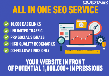 All In One SEO Service - 10,000 Backlinks, Unlimited Traffic, Social Signals and Promotion