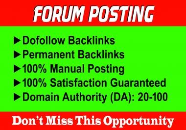 Manually 100 Forum Posting SEO Backlinks for Google Ranking
