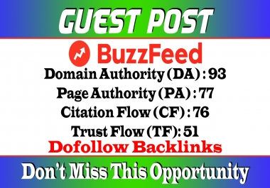 Write and Publish a Guest Post on BuzzFeed.com DA 93 Dof0llow Link