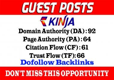 Write And Publish A Guest post on Kinja, Kinja.com DA 92 With Dof0llow link