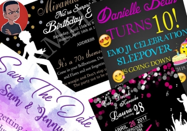 Do Birthday or Event or Wedding Invite or flyer design in less than 5hours